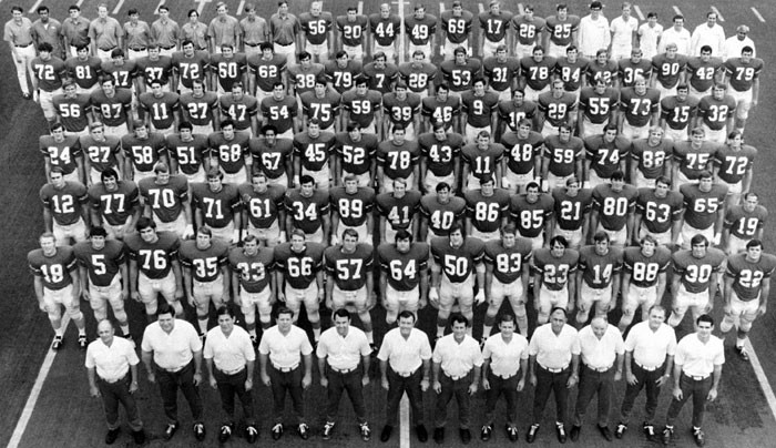 The 1970 Texas Longhorn championship team. McIingvale is near the top left, #72. / University of Texas photo